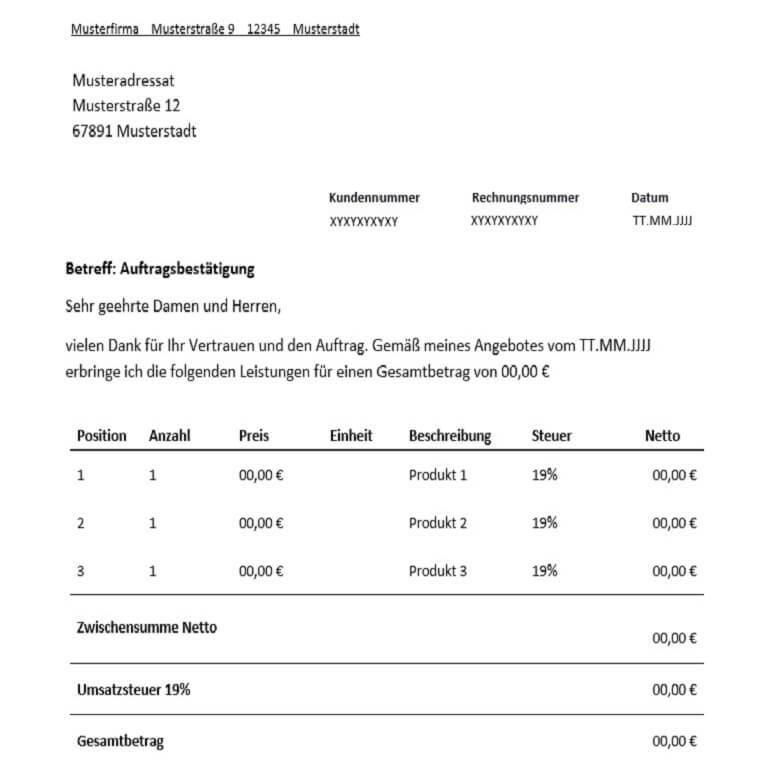 auftragsbesttigung fr freiberufler vorlage muster - Auftragsbestatigung Muster Kostenlos