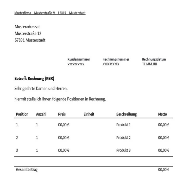 kleinunternehmerrechnung fr freiberufler vorlage muster - Muster Rechnungen