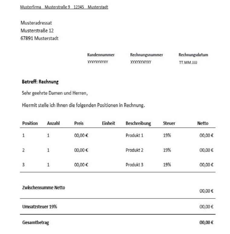 Rechnung Für Freiberufler Vorlage Muster